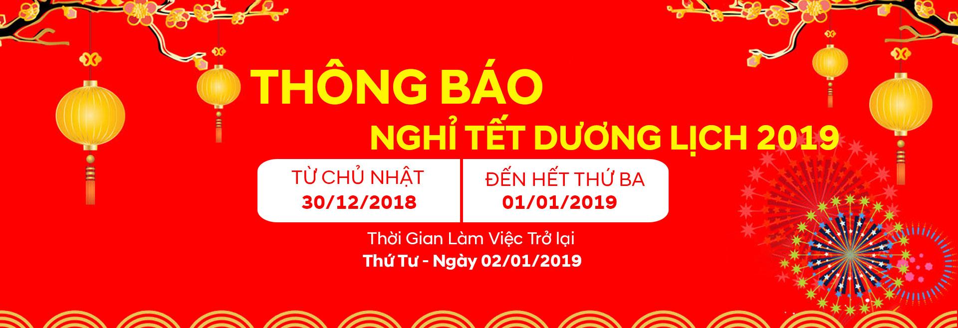 Thông báo nghĩ lễ Tết Dương Lịch 2019